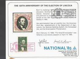 USA Herdenkingskaart 125 Jaar Verkiezing Lincoln 1985 (1218) - Covers & Documents