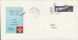1974-Malta Aerogramma I Volo AIRMALTA Malta Roma Del 1 Aprile - Malta