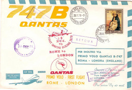 1971-Vaticano Aerogramma I Volo Boeing 747B Qantas Roma Londra Del 28 Novembre - Luchtpost