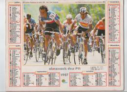 CYCLISME   TOUR DE FRANCE  CALENDRIER DES PTT 1987 BERNARD HINAULT   Au Dos   ALAIN PROST - Ciclismo