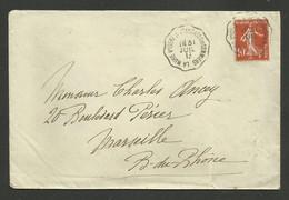 Convoyeur LA MURE D'ISERE A ST GEORGES DE COMMIERS / Enveloppe Hotel 1913 - Poste Ferroviaire
