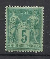 France - 1876 - N°Yv. 75 - Type Sage 5c Vert - Neuf Luxe ** / MNH / Postfrisch - 1876-1898 Sage (Tipo II)