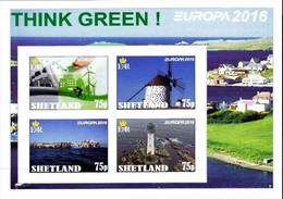 SCOTLAND - SHETLAND - 2016 - Europa, Think Green - Imperf 4v Souv Sheet - Mint Never Hinged - Private Issue - Cinderella