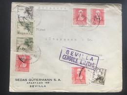 SPAIN - WW2 Cover Sevilla To Gutach Germany With `Sevilla Censura Militar` Cachet - Multi-stamped - `Sedas Gutermann` - 1931-50 Covers