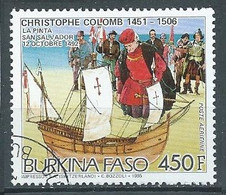 Burkina Faso Poste Aérienne YT N°320 Découverte De L'Amérique Par Christophe Colomb Oblitéré ° - Burkina Faso (1984-...)