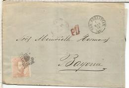 SAN SEBASTIAN A BAYONA 1873 FRANQUEO AMADEO 40 CTS - Cartas
