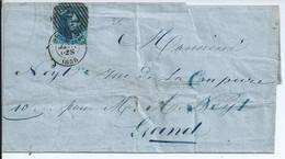 Brief Met  OCB 7 - Afstempeling 14 Lijnen Van Brussel - Brief Gescheurd - Zegel Volrandig - 1849-1865 Medaillen (Sonstige)