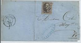 Briefragmentf Met  OCB 14 - Afstempeling Pt 217 - 1863-1864 Medaillen (13/16)