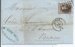 Brief Met  OCB 14 - Afstempeling Pt 217 - 1863-1864 Medaillen (13/16)