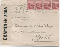 ALGERIE -N°165 X4  /LETTRE D'ALGER POUR LA SUISSE -Bande De Fermeture Censure Anglaise + - Briefe U. Dokumente