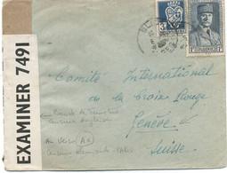 ALGERIE -N°168 +181 /LETTRE DE BLIDA  POUR LA SUISSE -Bande De Fermeture Censure Anglaise + - Briefe U. Dokumente