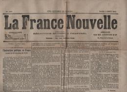 LA FRANCE NOUVELLE 03 08 1875 - INSTRUCTION PUBLIQUE AVANT 1789 - REIMS - CASTELET ARIEGE - RENNES - TRAMWAYS - CORAIL - 1850 - 1899