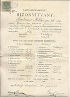 Hungarian Royal Teacher Training College In Székelykeresztur(Romanian: Cristuru Secuiesc), Certificate, 1901. - Diploma & School Reports