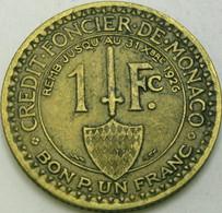 MONACO BON POUR 1 Franc 1924 - Louis II. - VF - 1922-1949 Louis II.