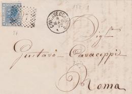 1872 CIVITAVECCHIA C1+punti (8.3) Su Lettera Completa Testo Affrancata C.20 (T26) - Storia Postale