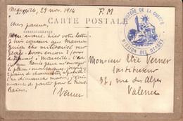 """BOUCHES DU RHÔNE DRÔME - CARTE DE MARSEILLE POUR VALENCE , CACHET """" MISSION DES OTAGES MINISTERE DE LA GUERRE """" 1914 - WW I"""