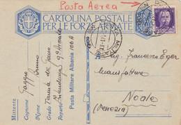 1941 POSTA MILITARE/Nro 106 C.2 (8.1) Su Cartolina Franchigia (C&C Albania 2) Via Aerea - Marcophilia