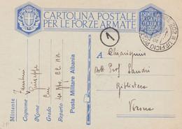 1939 UFFICIO POSTALE MILITARE 202 C.2 (13.4) Su Cartolina Franchigia (C&C Albania 2) Manoscr. Scutari - Marcophilia