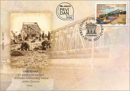 Serbia 2021 75 Years Since The Reconstruction Of The Road Railway Trains Bridges Over The Danube River FDC - Bridges