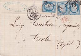 1873 FRANCIA Cerere Tre C.15 Su Lettera Completa Testo Annecy (6.10) Per L'Austria - 1871-1875 Ceres