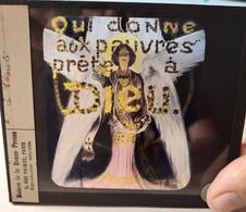 Série Complète 4 Plaques De Verre Lanterne Magique Illustrations - Thème : La Charité - Superbe  ! TBE - Diapositiva Su Vetro
