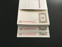 UNIQUE SLOVENIA BUNDLE 2 TOLARJEV BANKNOTES 1990 P-2 SOLID NUMBER 90999999 RADAR 90999909 + YEAR 1991 91000000!!!! - Slovenia