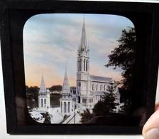 LOURDES - La Basilique - Extérieur Et Intérieur - Lot 5 Plaques De Verre Lanterne Magique - Photographies - TBE - Glass Slides