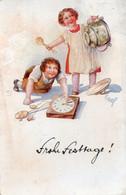 DC4972 - Schöne Motivkarte Frohe Festtage Kinder Uhr Künstlerkarte - Otros