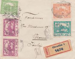 1920 CECOSLOVACCHIA CECOSLOVENSKO Castello H.10 Dentellato + H.20, 60 E Coppia H.3 Non Dentellati Su Raccomandata Chrudi - Briefe U. Dokumente