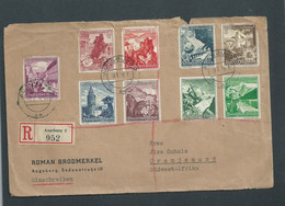 Germany 1939 Winter Relief Set, AUSBURG 9.1.39 > LUDERITZ S.W.A. 30 JAN 39 - Covers & Documents