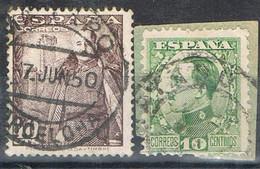 Dos Sellos Alfonso XII Y Caudillo. Fechador MATARÓ (barcelona) Num 492-1030 º - 1931-50 Gebraucht