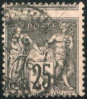 FRANCE 1886 SAGE YT N° 97 - 25c NOIR SUR ROSE Obl. MARS. ETRANG. PIQUAGE À CHEVAL - 1876-1898 Sage (Type II)