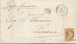 1861 FRANCIA Napoleone III C.10 Su Lettera Completa Di Testo Alessandria (27.5.) Per Livorno Un Margine Corto - 1853-1860 Napoleon III