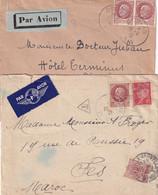 2 LETTRES POUR LE MAROC - 1941-42 Pétain