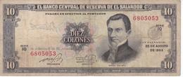 BILLETE DE EL SALVADOR DE 10 COLONES DEL AÑO 1983 DE CRISTOBAL COLON   (BANKNOTE) - El Salvador