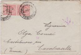 1919 TRENTO E TRIESTE Trento C.2 Austriaco Scalpellato (15.3) Su Busta Affrancata Coppia CC.10/10 - Trento & Trieste