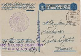 1943 POSTA MILITARE/N 217 C.2 (4.9) Su Cartolina Franchigia - Marcofilie