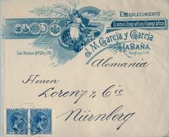 1896 CUBA , SOBRE COMERCIAL CIRCULADO ENTRE LA HABANA Y NÜREMBERG - Cuba (1874-1898)