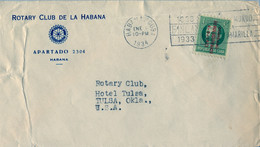 """1934 CUBA , SOBRE CIRCULADO , LA HABANA - TULSA , ROTARY CLUB DE LA HABANA ,  SOBRECARGA """" GOBIERNO REVOLUCIONARIO"""" - Covers & Documents"""
