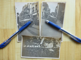 62 LE TOUQUET PARIS PLAGE - FETE DES FLEURS 3 PHOTOGRAPHIES VERS 1920-30 RUE DE PARIS ? PAS DE CALAIS - Le Touquet