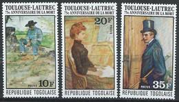 Togo YT 876-878 Neuf Sans Charnière - XX - MNH Toulouse Lautrec Art - Togo (1960-...)