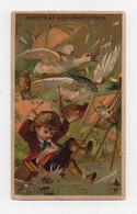 CHROMO Chocolat Guérin-Boutron Courbe-Rouzet Patatras! Enfant Dessin Chevalet Oies Chat Rivière Palette Parapluie - Guerin Boutron
