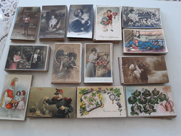 LOT DE  700 CARTES POSTALES ANCIENNES DE FANTAISIE DIVERS THÈMES - 500 Postcards Min.