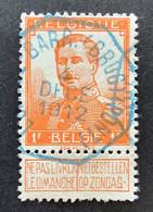 Pellens 116 - 1 Fr Gestempeld TELEGRAAFSTEMPEL LOMMEL BARR. (BRUG) (PONT) - 1912 Pellens