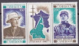 """1970-(MNH=**) Cameroun Posta Aerea S.2v.con Vignetta Centrale """"anniversario Gen.De Gaulle I S.""""catalogo Yvert Euro 9 - Cameroon (1960-...)"""