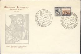 1955-fdc Illustrata Affrancata L.25 Girolamo Fracastoro - FDC