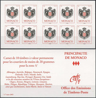 MONACO Carnet 15 ** MNH Armoiries De La Principauté 10 Timbres Validité Permanente 2005 - Markenheftchen