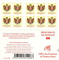 MONACO Carnet 16 ** MNH Armoiries De La Principauté 10 Timbres Validité Permanente 2009 - Markenheftchen