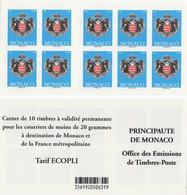 MONACO Carnet 17 ** MNH Armoiries De La Principauté 10 Timbres Validité Permanente 2012 - Markenheftchen