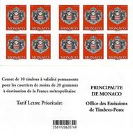 MONACO Carnet 18 ** MNH Armoiries De La Principauté 10 Timbres Validité Permanente 2014 - Markenheftchen